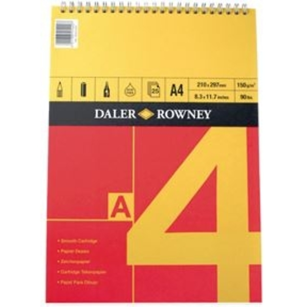 Pad llunio A4 coch/melyn (Daler Rowney series A spiral pad A4 red/yellow)