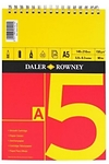 Pad llunio A5 coch/melyn (Daler Rowney series A spiral pad A5 red/yellow)