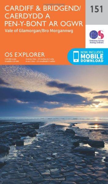 O.S. Explorer 151 Cardiff & Bridgend/Caerdydd a Pen-y-Bont ar Ogwr