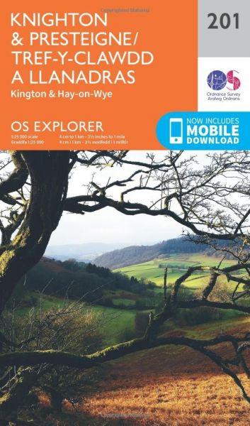 O.S. Explorer 201 Knighton & Presteigne/Tref-y-Clawdd a Llanandras