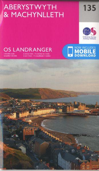O.S. Landranger 135 Aberystwyth and Machynlleth / Aberystwyth a Machynlleth