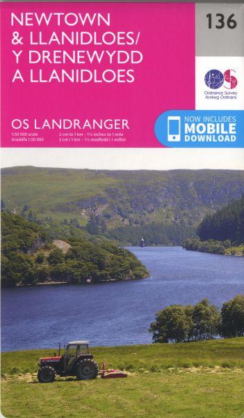 O.S. Landranger 136 Newtown and Llanidloes/Y Drenewydd a Llanidloes