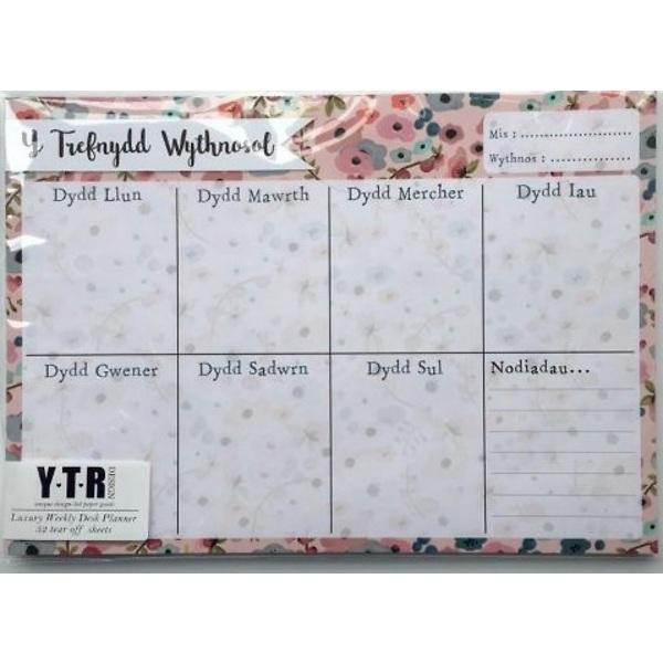 Y Trefnydd wythnosol A4 llorweddol